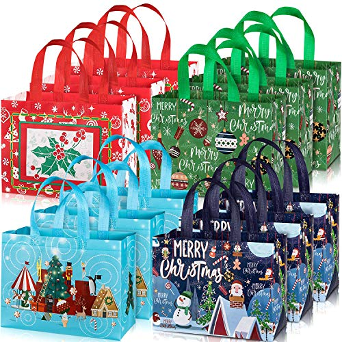 Whaline 12 Pack Christmas Tote Bags with Handles, Reusable Gift Bag Grocery Shopping Totes for Holiday Xmas 12.8' x 9.8'