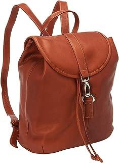 Piel Leather Medium Drawstring Backpack, Saddle