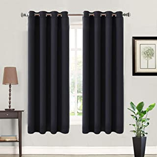 BALICHUN 2 Panels 99% Blackout Curtains Thermal Insulated Windows Curtains with Grommets Darken Drapes for Bedroom/Living Room (Black W52 x L63)