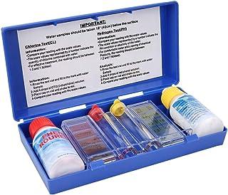 Kit de prueba for piscinas - Probador de calidad de agua con cloro PH y medidor de hidrógeno, Estuche de prueba de química del agua 4 en 1 for spa, Caja de prueba de agua for acuarios de casa Hidropón