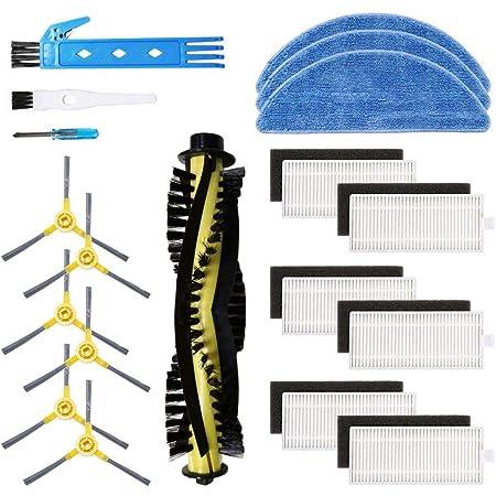 BSDY YQWRFEWYT Kit Accesorios de Recambio para IKOHS netbot S15 Robot Aspiradora, Material Premium, Pack Familiar de 1 Cepillo Principal+6 Filtros + 6 Cepillos Laterales + 3 Mopas