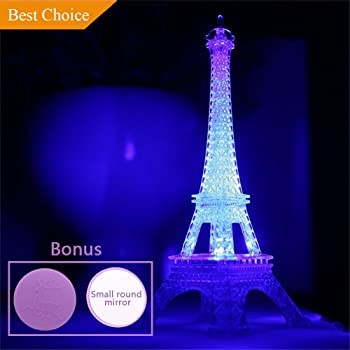 Amazon Com Eiffel Tower Nightlight Desk Bedroom Decoration Led Lamp Colorful Paris Fashion Style Acrylic 10 Inch Cake Topper Decoration Gift Baby