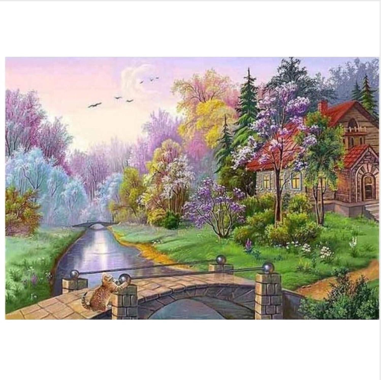 Für Anfänger Junior Malerei Auf Leinwand Baum Steinbrücke Haus Farbige Bäume DIY Geschenk Für Erwachsene Kind Malen Nach Zahlen-Rahmen 40X50Cm B07PDX3YN7 | Fuxin