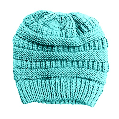 Ultra Comfy Messy Bun Beanie, Winter Crochet Bun Hat, Beanie Ponytail Hat, Messy Bun Knitted Beanie, Autumn Messy Bun Bonnet (Turquoise)