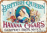 英国の女王ハバナ葉巻壁金属ポスターレトロプラーク警告ブリキサインヴィンテージ鉄絵画装飾バーガレージカフェのための面白いハンギングクラフト