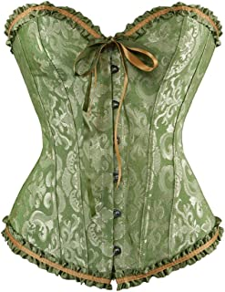 frawirshau Women's Lace Up Boned Overbust Corset Bustier Bodyshaper Top