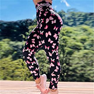 Jinqiuyuan Sexy Seamless Yoga Pants Fitness Leggings Sports Women Mechanical Print High Waist Hip Leggings Running Fitness Yoga Trousers (Color : Pink, Size : L)