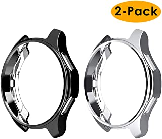 EZCO Compatible Samsung Galaxy Watch 46mm / Gear S3 Case, Soft TPU Plated Case Protector Bumper Compatible Samsung Gear S3 / Galaxy Watch 46mm SM-R800 Smartwatch (Black+Silver, 46MM Case)