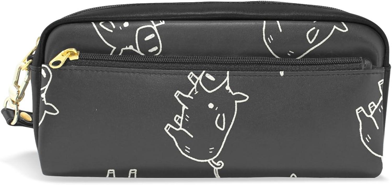 BENNIGIRY Süßes Schwein Bleistift Fall tragbar Pen Tasche Student Schreibwaren Pouch PU Leder Groß Kapazität Reißverschluss Make-up Kosmetiktasche B077TKDX3Q   Die Farbe ist sehr auffällig