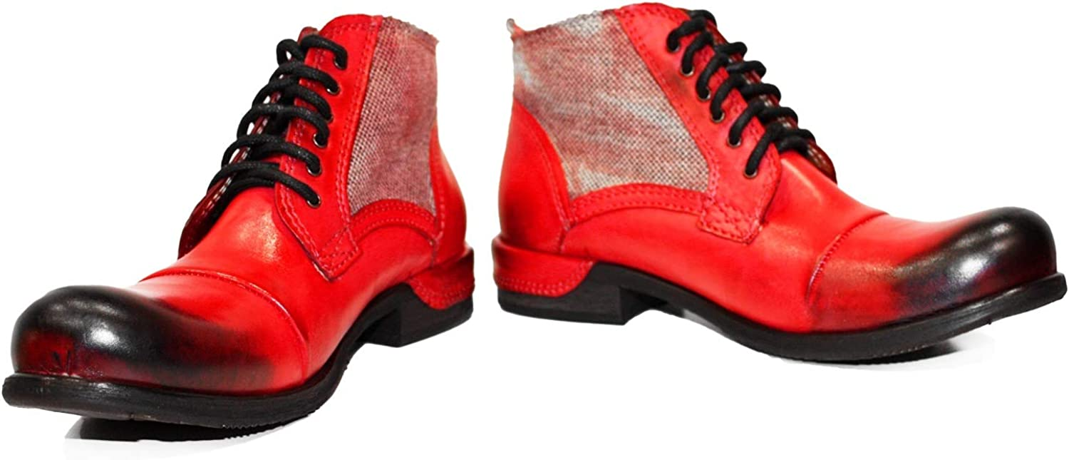 Peppeshoes Modello Quecello - Handmade Italian Leather Mens color Red Ankle Boots - Cowhide Hand Painted Leather - Lace-Up