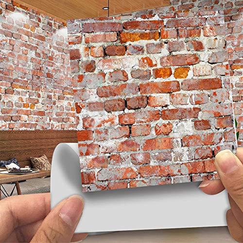 Hiser 20 Piezas Adhesivos Decorativos para Azulejos Pegatinas para Baldosas del Baño/Cocina Imitación de Cuero imitación Piedra 3D Estilo ladrillo Resistente al Agua Pegatina de Pared (LA007,20cm)