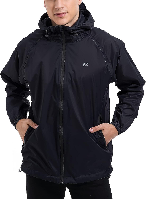 Men's Waterproof Hooded Rain Jacket Windbreaker Lightweight Packable Raincoat