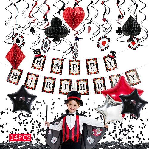 Sunbeauty Tema Casino Fiesta Cumpleaños para Niños, Happy Birthday Guirnalda Mágica Fiesta Globo Estrella de Papel de Aluminio Espiral Negro Rojo Corazones Picas Diamante Club, 39 Piezas