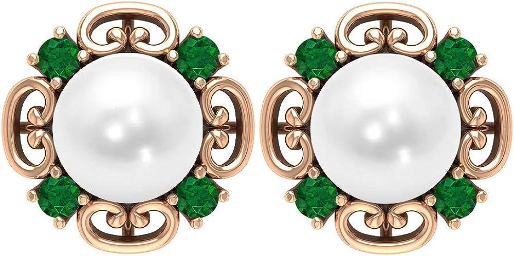 Vintage Earrings, 6.32 CT Gemstones, 7 MM Fresh Water Pearl 2 MM Lab Created Emerald Earrings, Gemstone Jewelry, Solid Gold Jewelry, Solitaire Stud Earrings, Screw back