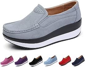 gracosy Slip-On Platform Shoes, Women's Suede Soft Toning Rocker Shoes Shape UPS Sneakers Walking Shoes