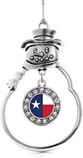 Inspired Silver - Texas Flag Charm Ornament - Silver Circle Charm Snowman Ornament with Cubic Zirconia Jewelry