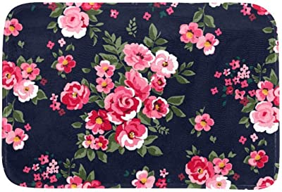 EGGDIOQ Doormats Pink Floral Painting Custom Print Bathroom Mat Waterproof Fabric Kitchen Entrance Rug, 23.6 x 15.7in