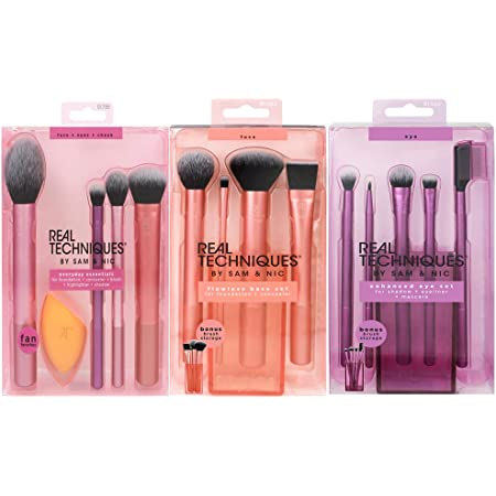 Real Techniques Brush Set (Everyday Essentials, Enhanced Eye, Flawless Base)