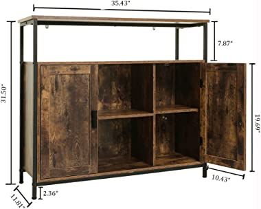 USIKEY Industrial Floor Storage Cabinet with 2 Doors, Kitchen Free Standing Cabinet with Adjustable Shelves, Feet, Storage Si