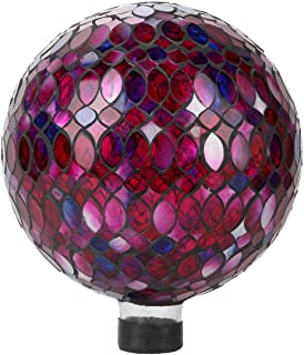 Lily's Home Colorful Mosaic Glass Gazing Ball, Designed with a Stunning Holographic Petal Mosaic Pattern to Bring Color to Any Home and Garden, Red, Blue & Purple (10 Inches Dia.)
