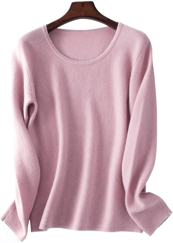 CEFULTY Women's Cashmere Long Sleeve Warm Round Neck Sweater Size MXL