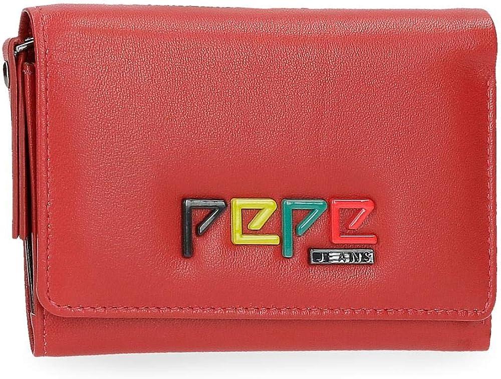 Pepe jeans, portafoglio per donna, porta carte di credito, in vera pelle 7692562