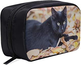 The Black Cat With Yellow Eyes Portable Travel Makeup Cosmetic Bags Organizer Multifunction Case Small Toiletry Bags For Women And Men Brushes Case