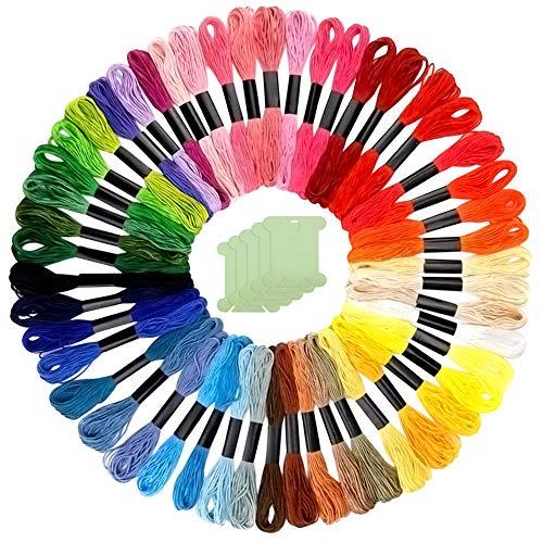 FEPITO 55 Stück Rainbow Color Stickgarn Set 50 Stränge Stickgarn und 5 Stück Zahnseide Spulen für Freundschaftsbänder Zahnseide, Kreuzstichfäden, Bastelseide