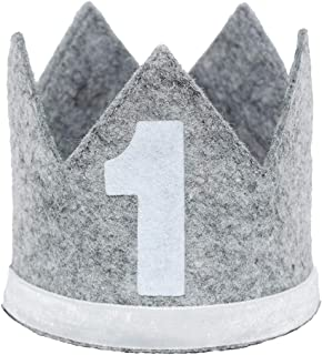 Maticr Classic Felt 1st Birthday Crown Hat Baby Boy Number 1 Headbands Prince Princess Cake Smash Photo Prop
