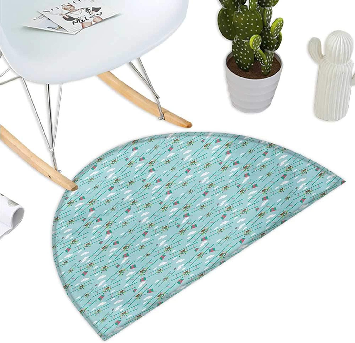 Baby Semicircular Cushion Funny Bear on Ladder Trying to Reach The Kite in Sky Clouds Kids Nursery Cartoon Bathroom Mat H 35.4  xD 53.1  Turquoise Teal