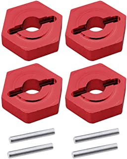 HobbyPark Aluminum Wheel hubs 12mm Hex Replacement of 7154 for Traxxas 1/16 Slash 4x4 E-Revo Summit VXL RC Car (Red)