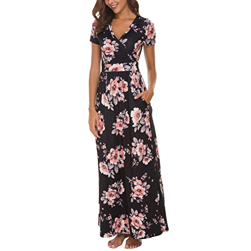 44b4d2dbaee Zattcas Womens V Neck Floral Maxi Dress Summer Casual Pocket Maxi Long Dress