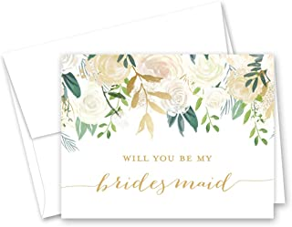 White Gold Floral Will You be My Bridesmaid Card, Bridesmaid Proposal Card, Maid of Honor Card - Set of 10