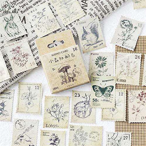 BBGSFDC Beau 45pcs / boîte forêt Post-Timbre Autocollants décoratifs Autocollants adhésifs Autocollants de décoration de Bricolage DIY Diary Stickers Autocollants Enfants Cadeau Exquis