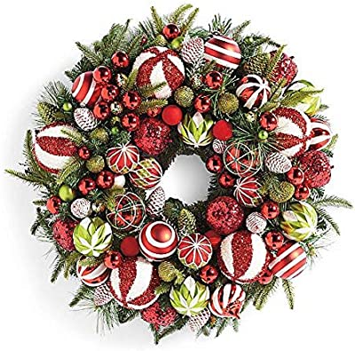 JMB Wintry Heavily Flocked Pine /& Eucalyptus 24 Wreath with 50 Green and White Ornaments and Red Glittered Berries Red unknown