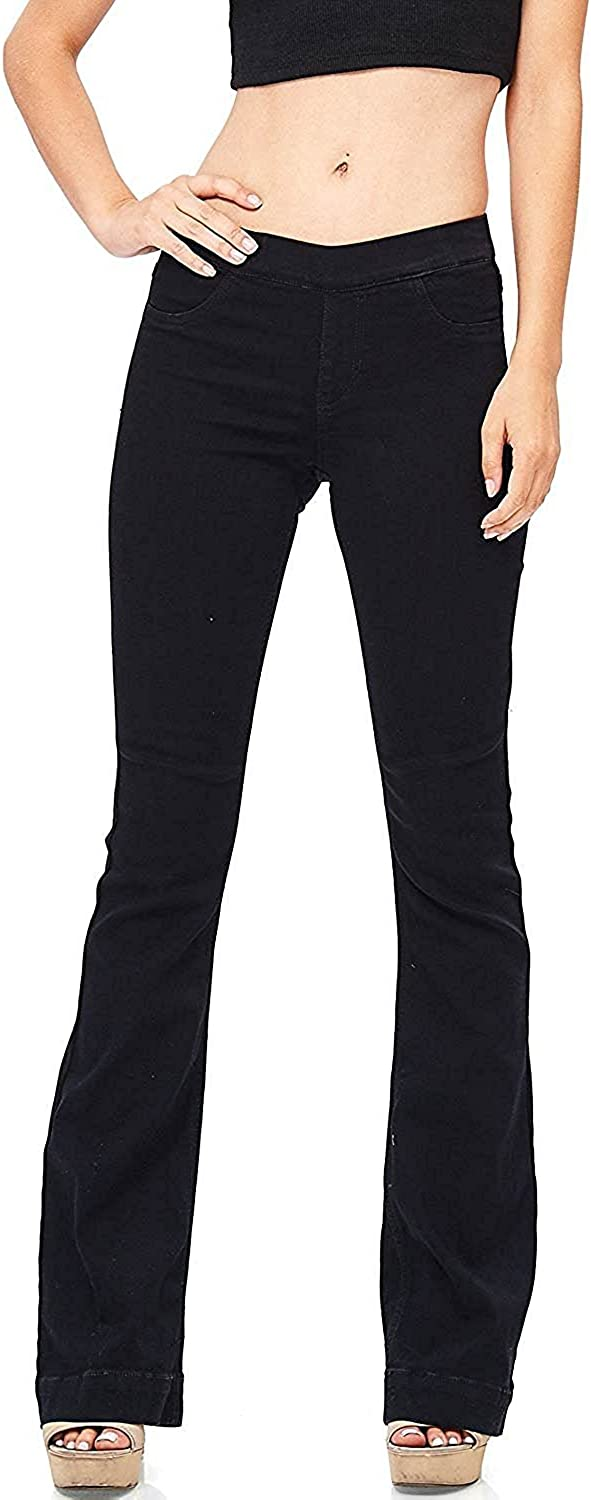 Cello Women's Juniors Mid Waist Skinny Fit Bootcut Pants