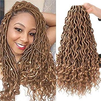 WOGO Beauty 6 Packs Goddess Locs Crochet Hair Natural Goddess Faux Locs Crochet Hair Curly Faux Locs Crochet Hair Wavy Goddess Locs Crochet Hair with Curly Ends  18   27