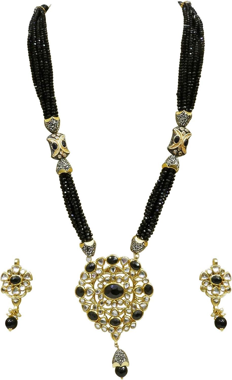 Babosa Sakhi Black Crystal Kundan Pendant Bollywood Style Long Jewellery Set