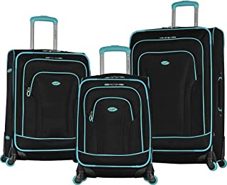 Olympia Santa Fe 3-Piece Exp. Luggage Set, Black+Mint, One Size