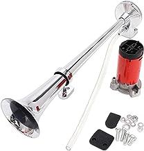 Zento Deals 12V Single Trumpet Air Horn Single Trumpet Air Horn + Compressor Powerful..