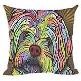 Cafetime Lovely Art Hund Kissen Bezug Havaneser Kopfkissen umfasst die auf Leinwand, quadratisch Kissenbezüge für Home Sofa Couch Stuhl Sitz Büro 45,7x 45,7cm Zoll, Multi1, 18'x18'Inch