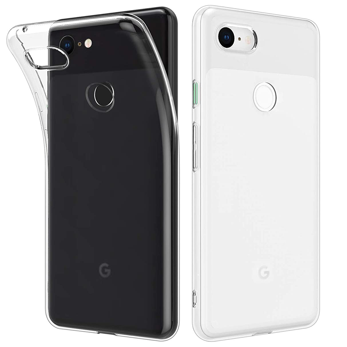 MoKo Compatible with Google Pixel 3 Case, [2 Pack] Soft Clear Light and Slim Protective Case Shockproof Anti-Scratch Flexible TPU Cover Fit with Google Pixel 3 - Clear + Clear