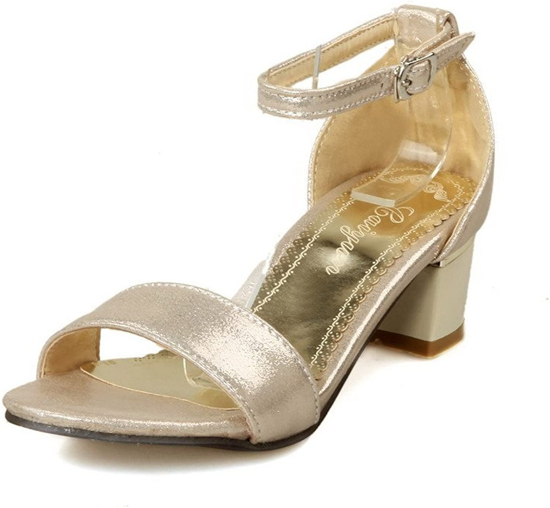 WeenFashion Women's Soft Material Buckle Open Toe Kitten-Heels Solid Sandals