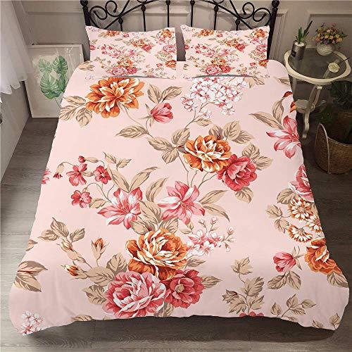 3D Effect Printed Rose-flower Bedding Set, Microfiber Duvet Cover Set Quilt Cover with Zipper +50x75 Pillow Case Super Soft Comfortable (Double 3pcs-200x200+50x75cm,rose)