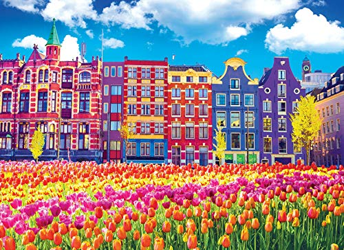 KODAK PREMIUM PUZZLES 1000 Piece - Traditional Old Buildings and Tulips in Amsterdam Netherlands Holland