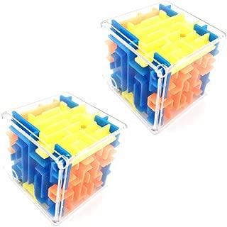 2 Pcs 3D Six-Sided Transparent Bead Maze Cube Puzzle Box Puzzle Toy Fun Brain Game Brain Teaser Imagination Education