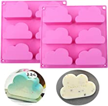 Fewo 2 Pack Cloud Cupcake Pans Mousse Cake Silicone Molds Jello Soap Wax Crayon Melt Bath Bomb Mold Lotion Bar Molds Ice C...