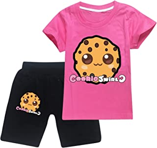 Co-O-K.I-E Sw.I.R-L-C Toddler Short Sleeve T-Shirt and Shorts 2 Pieces Set Boys and Girls Summer Tracksuit
