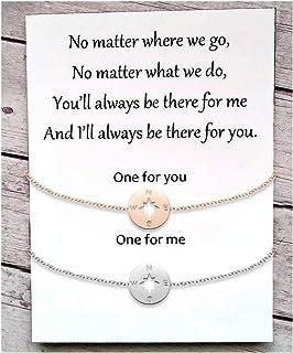 Tarsus Compass Long Distance Charm Bracelet Set Matching Graduation Friendship Birthday Jewelry Gift for Best Friends Couple Women Men Teen Girls Girlfriend 2 Pcs