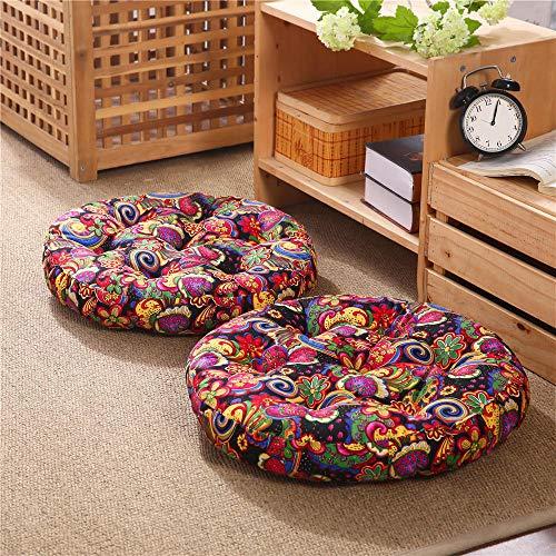 JMSHTU - Cojín grande para el suelo, cojín de meditación de 55 cm, color negro, bohemio, redondo, de algodón y lino, cómodo asiento para sala de estar, jardín, patio2 piezas